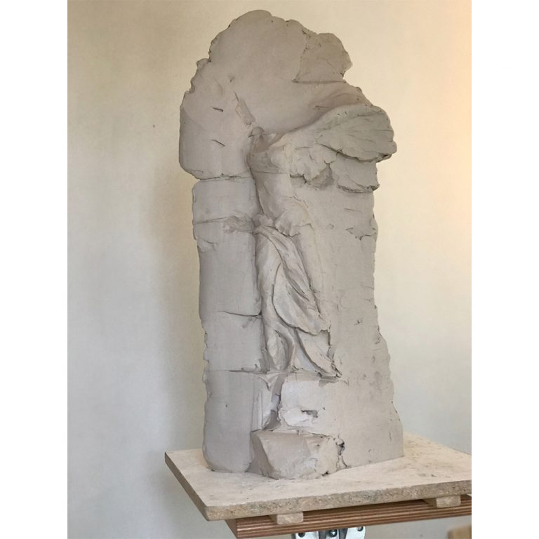 "Stela III, Water Based Clay, 29"" x 15"" x 5"""